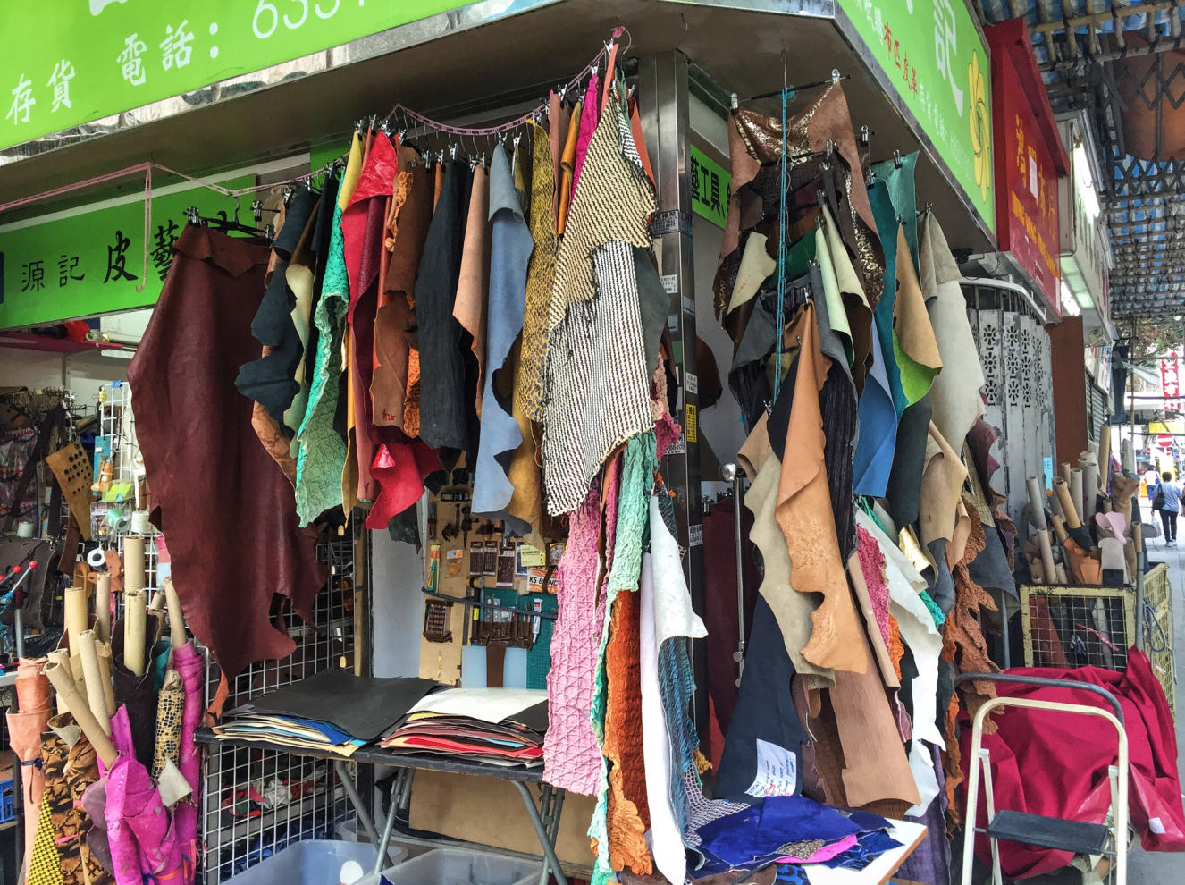 shopping for leather in sham shui po