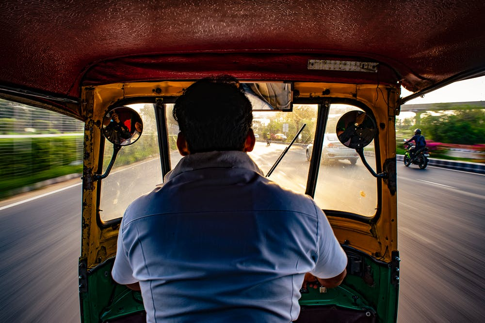 view riding inside a tuk-tuk in india