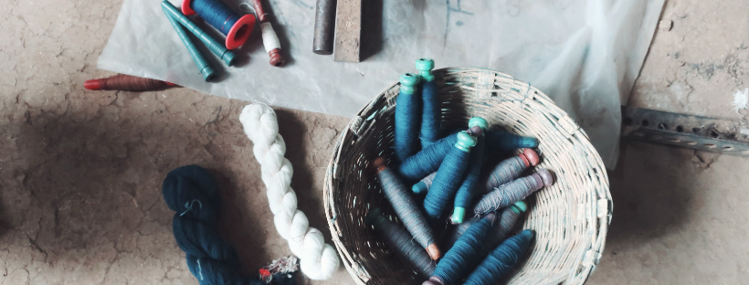 filling yarns in a basket, they will be placed in the shuttle and used for weaving
