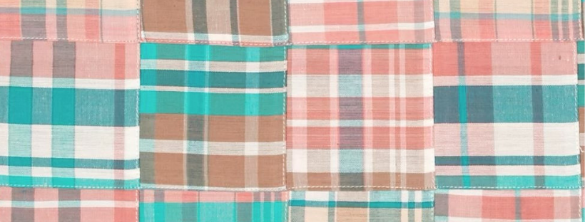 madras fabric pink and teal woven fabric