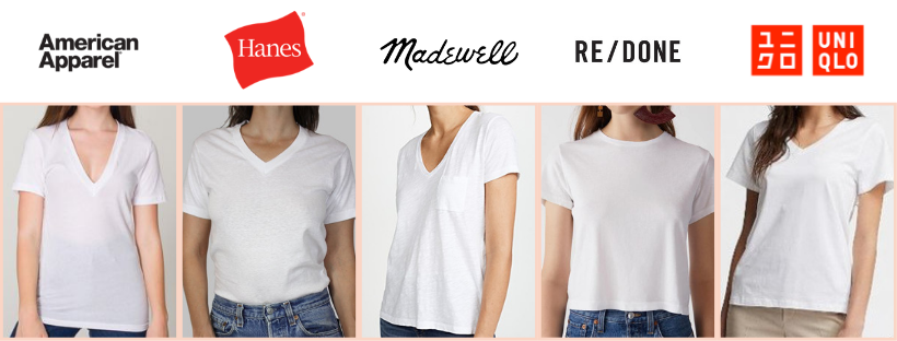 best white t-shirt american apparel, hanes, madewell, re/done, uniqlo
