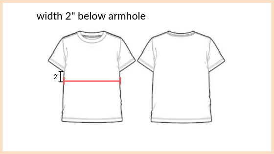 "point of measure 2"" below armhole"