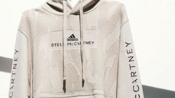 stella mccartney and adidas collab infinity hoodie with recycled cotton