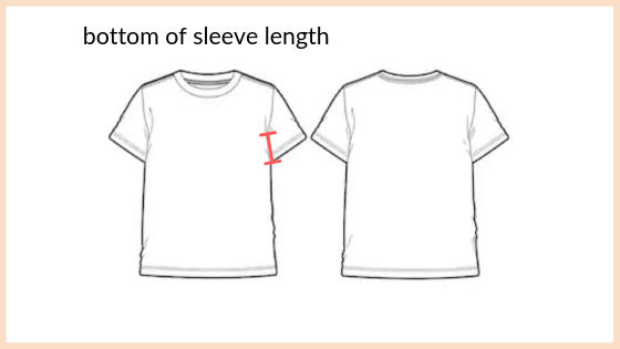how to measure bottom of sleeve length shown on technical design
