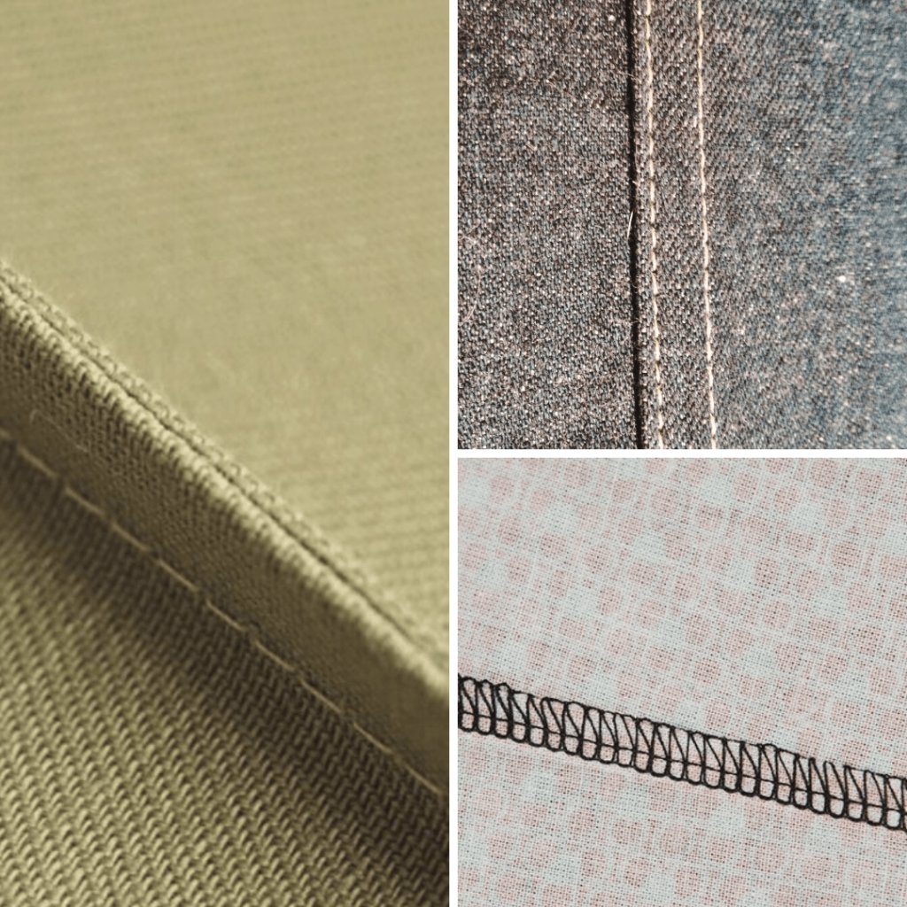 different types of clothing seams - french, flat felled, serger