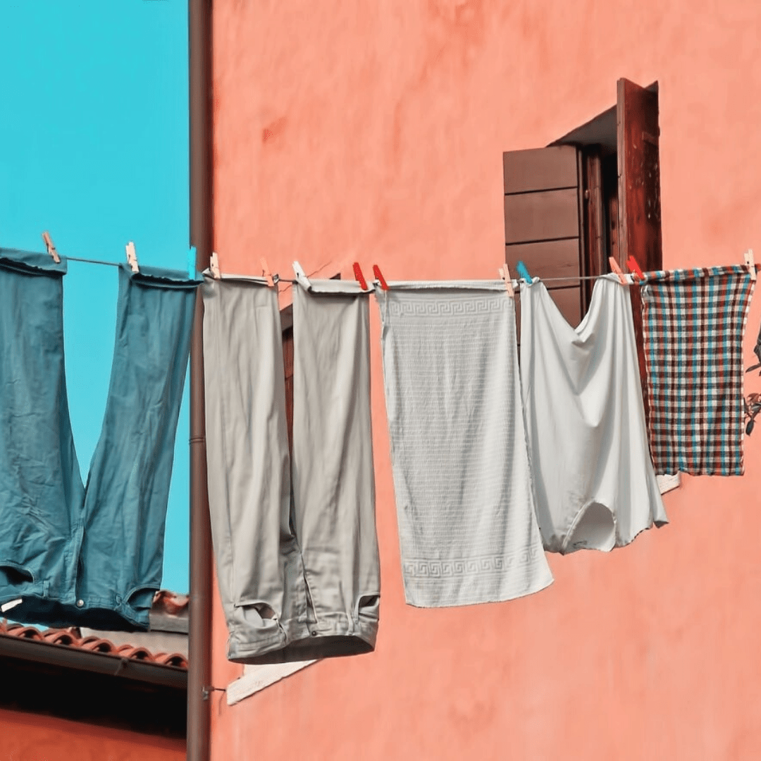 wash your clothes less to make them last longer, try line drying